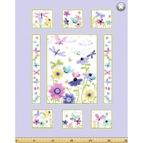 Flutter Butterfly Cot Quilt Panel Soft Touch Needlecraft